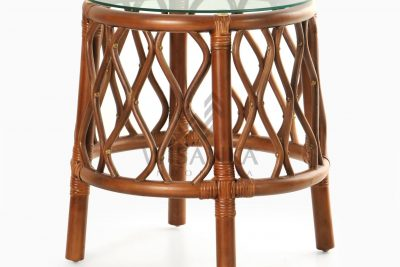 Cote Natural Rattan Side Table perspective
