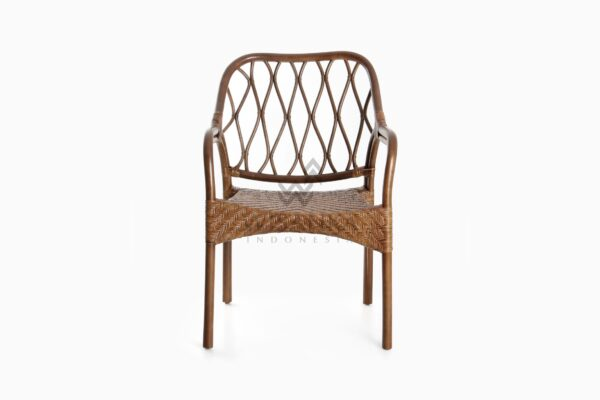 Cote Vintage Natural Rattan Arm Chair front
