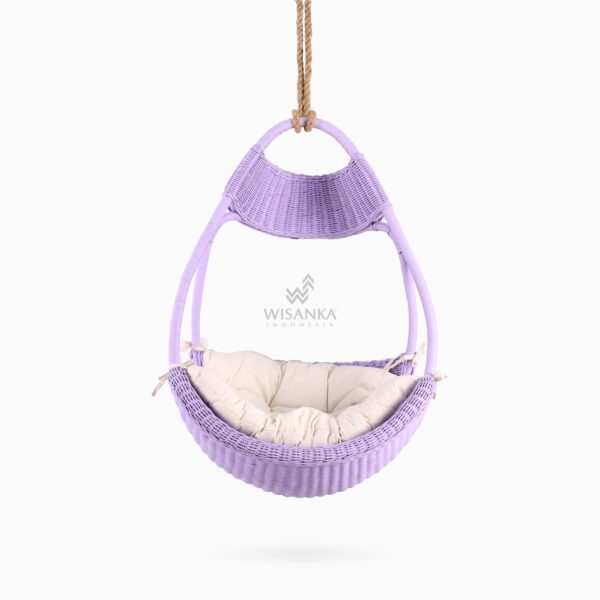 Rubby Rattan Hanging Chair with cushion for kids front