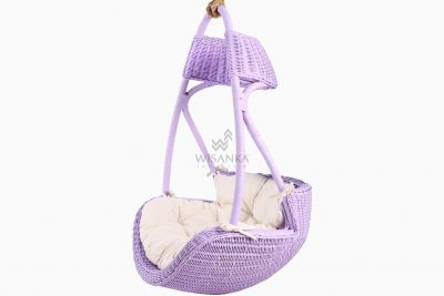 Rubby Rattan Hanging Chair with cushion for kids perspective