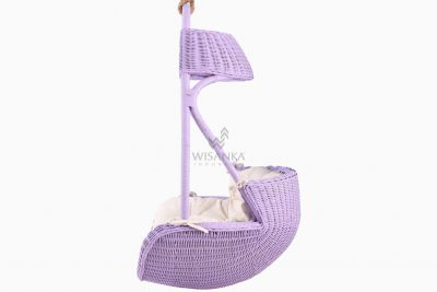 Rubby Rattan Hanging Chair with cushion for kids side